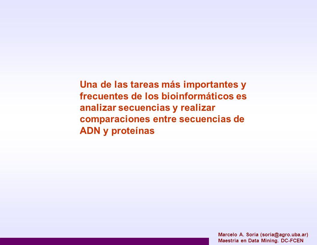 Marcelo A. Soria (soria@agro.uba.ar) Maestria en Data Mining. DC-FCEN Una de las tareas más importantes y frecuentes de los bioinformáticos es analiza