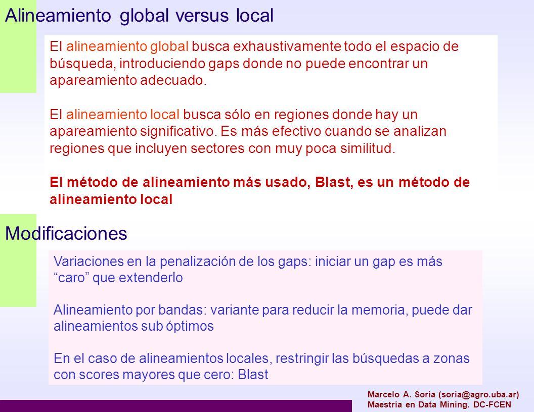 Alineamiento global versus local Marcelo A. Soria (soria@agro.uba.ar) Maestria en Data Mining. DC-FCEN El alineamiento global busca exhaustivamente to