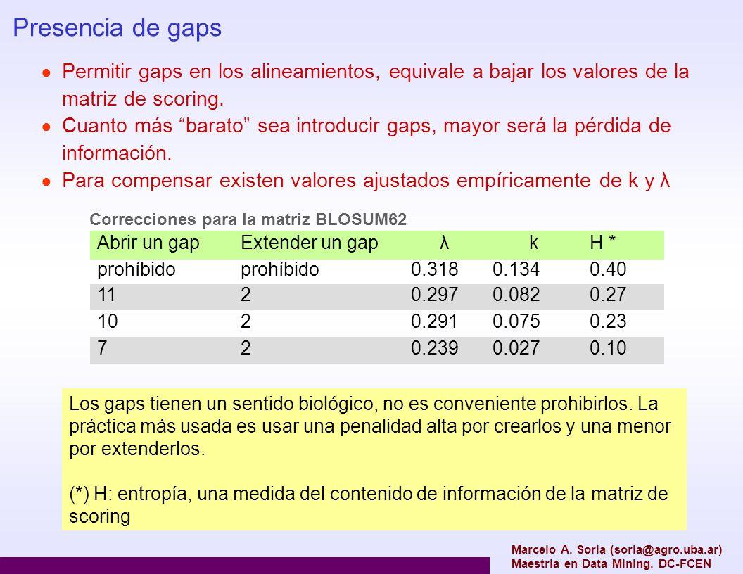 Marcelo A. Soria (soria@agro.uba.ar) Maestria en Data Mining. DC-FCEN Presencia de gaps Permitir gaps en los alineamientos, equivale a bajar los valor