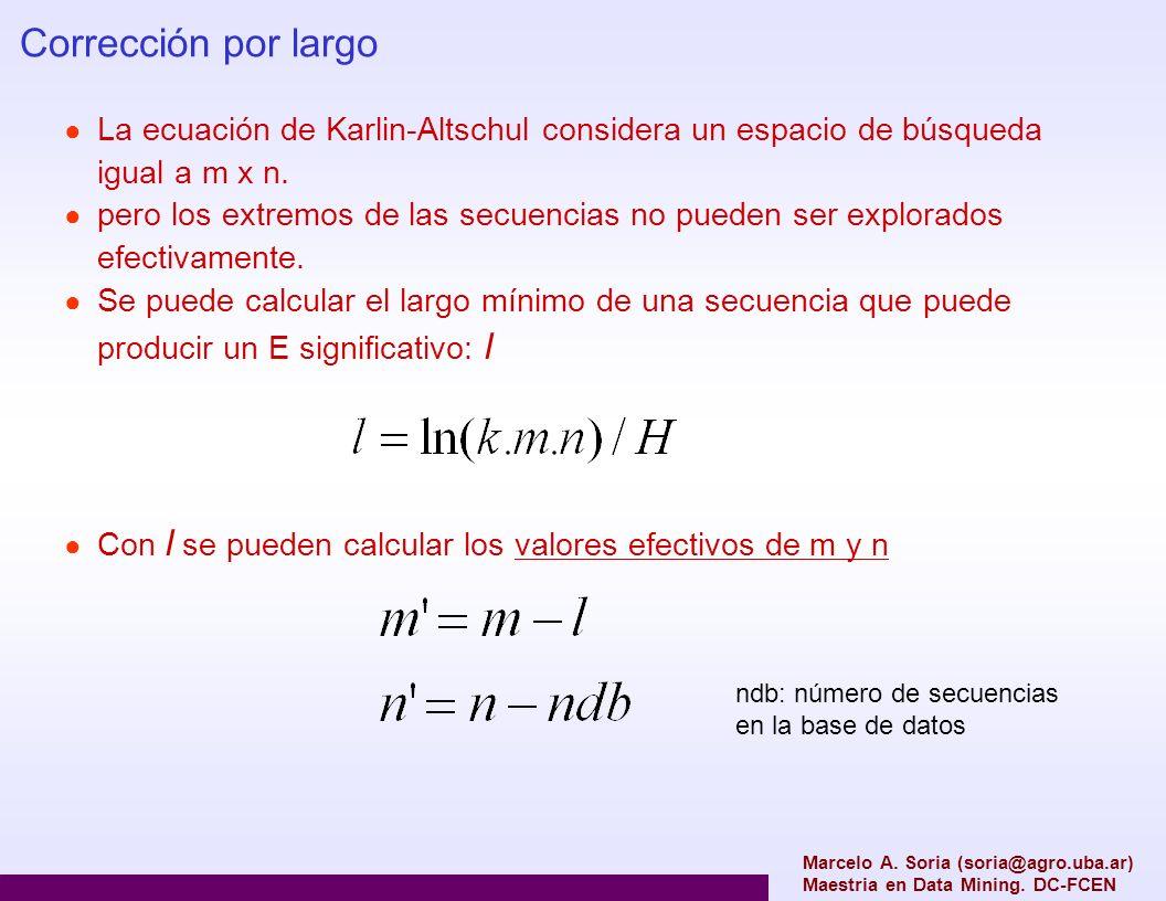 Marcelo A. Soria (soria@agro.uba.ar) Maestria en Data Mining. DC-FCEN Corrección por largo La ecuación de Karlin-Altschul considera un espacio de búsq
