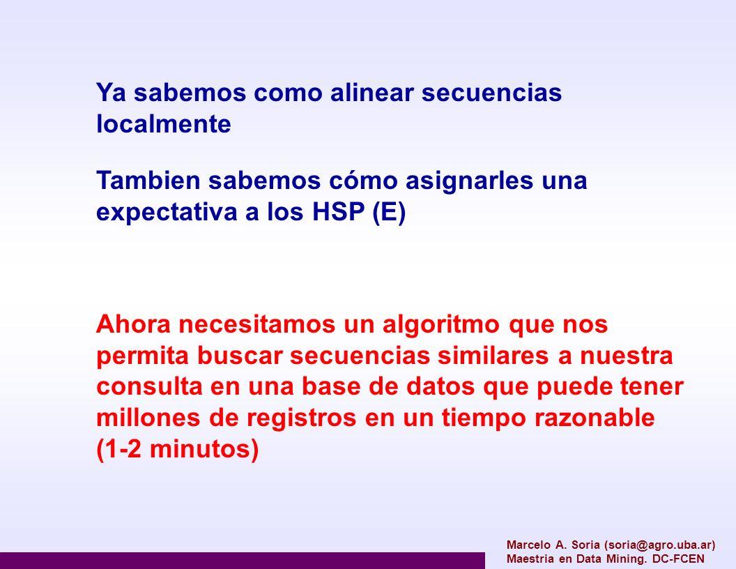 Marcelo A. Soria (soria@agro.uba.ar) Maestria en Data Mining. DC-FCEN Ya sabemos como alinear secuencias localmente Tambien sabemos cómo asignarles un