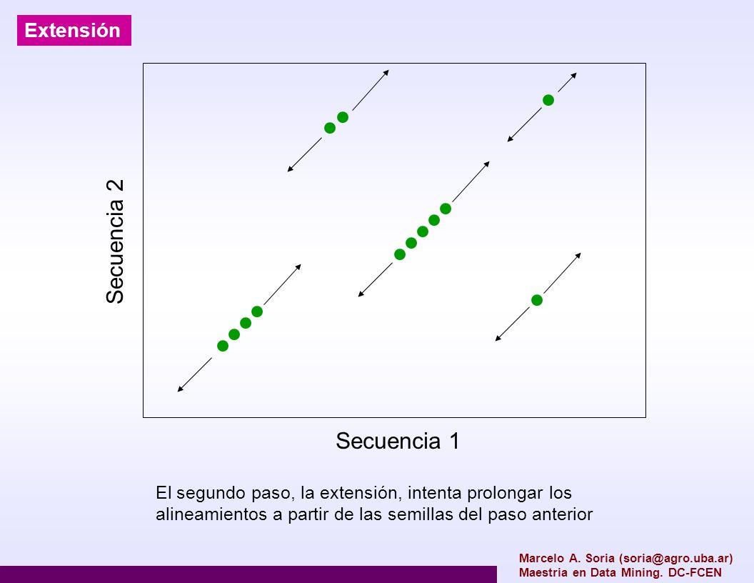 Marcelo A. Soria (soria@agro.uba.ar) Maestria en Data Mining. DC-FCEN Extensión Secuencia 2 Secuencia 1 El segundo paso, la extensión, intenta prolong