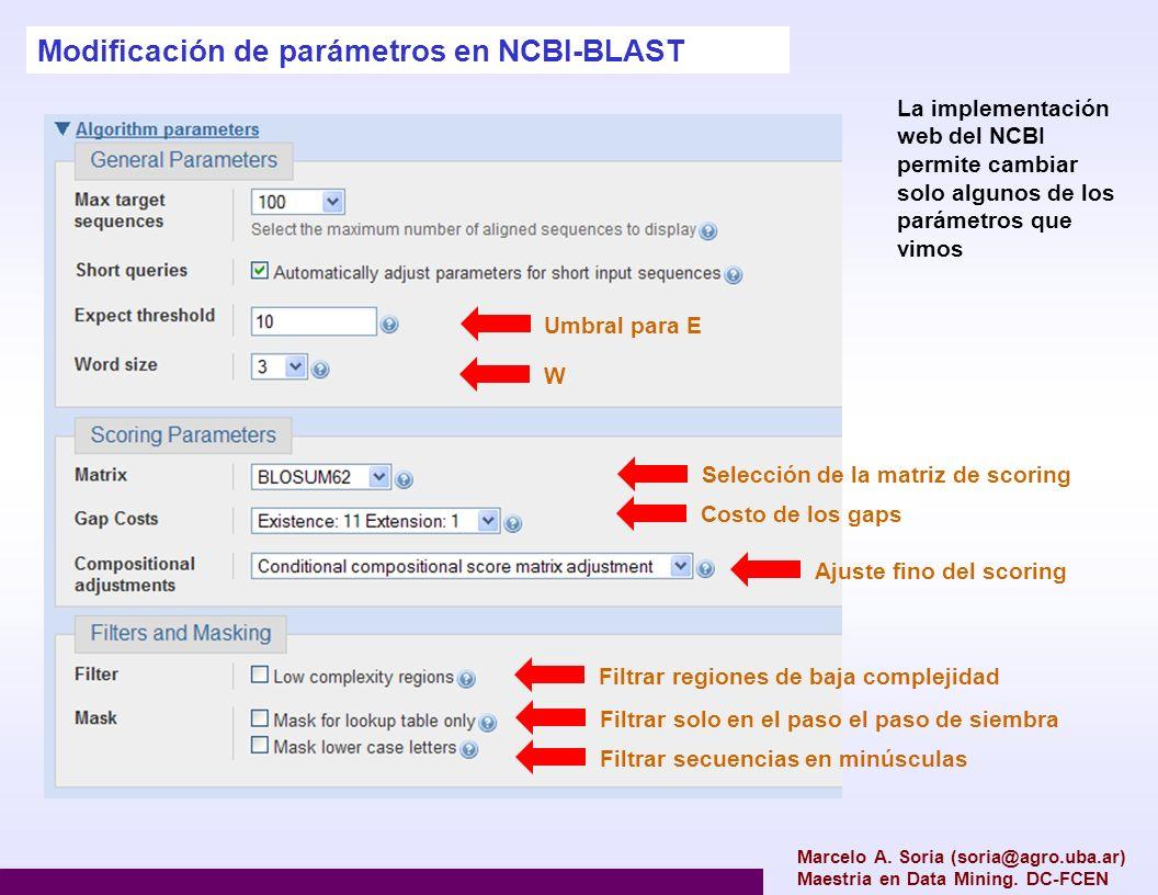 Marcelo A. Soria (soria@agro.uba.ar) Maestria en Data Mining. DC-FCEN Modificación de parámetros en NCBI-BLAST La implementación web del NCBI permite