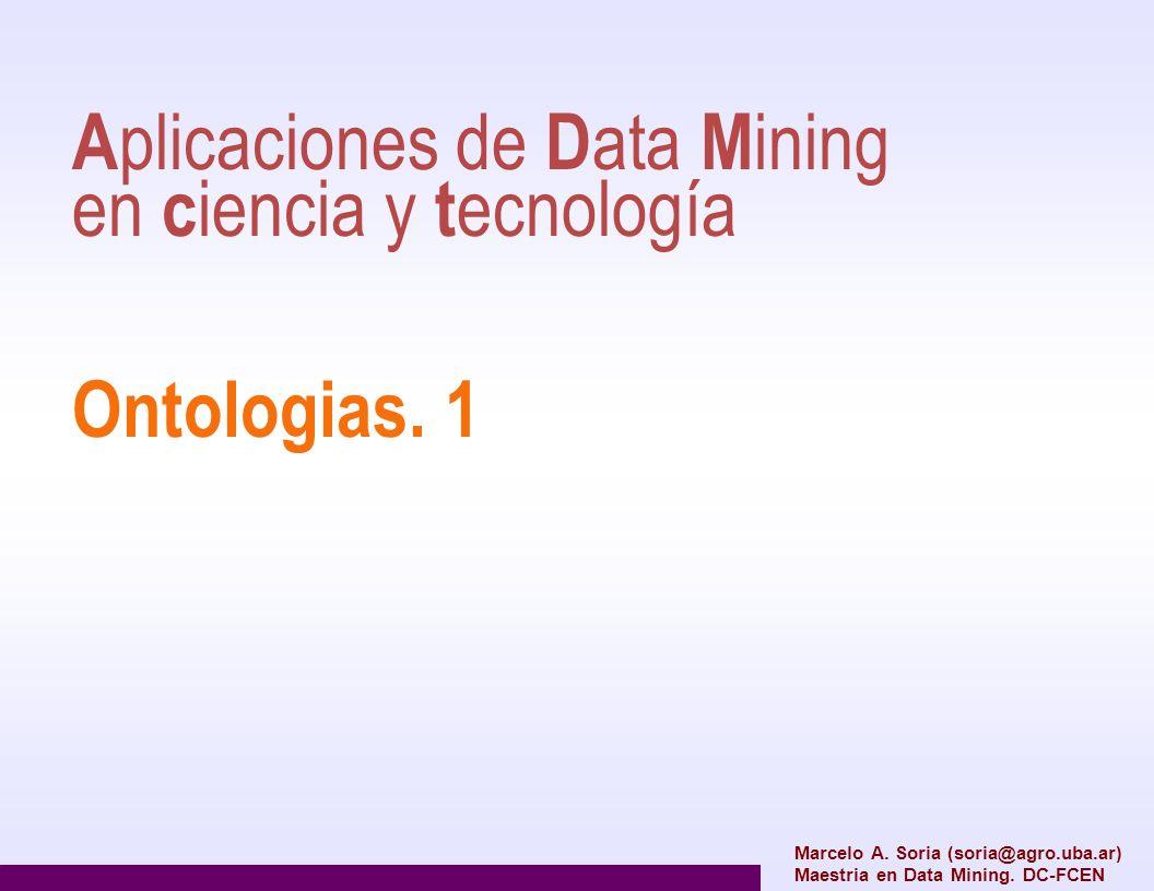 A plicaciones de D ata M ining en c iencia y t ecnología Ontologias. 1 Marcelo A. Soria (soria@agro.uba.ar) Maestria en Data Mining. DC-FCEN