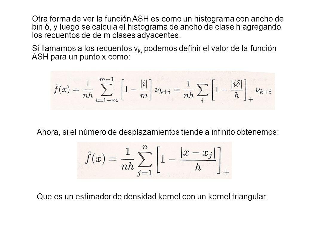 Otra forma de ver la función ASH es como un histograma con ancho de bin δ, y luego se calcula el histograma de ancho de clase h agregando los recuentos de de m clases adyacentes.