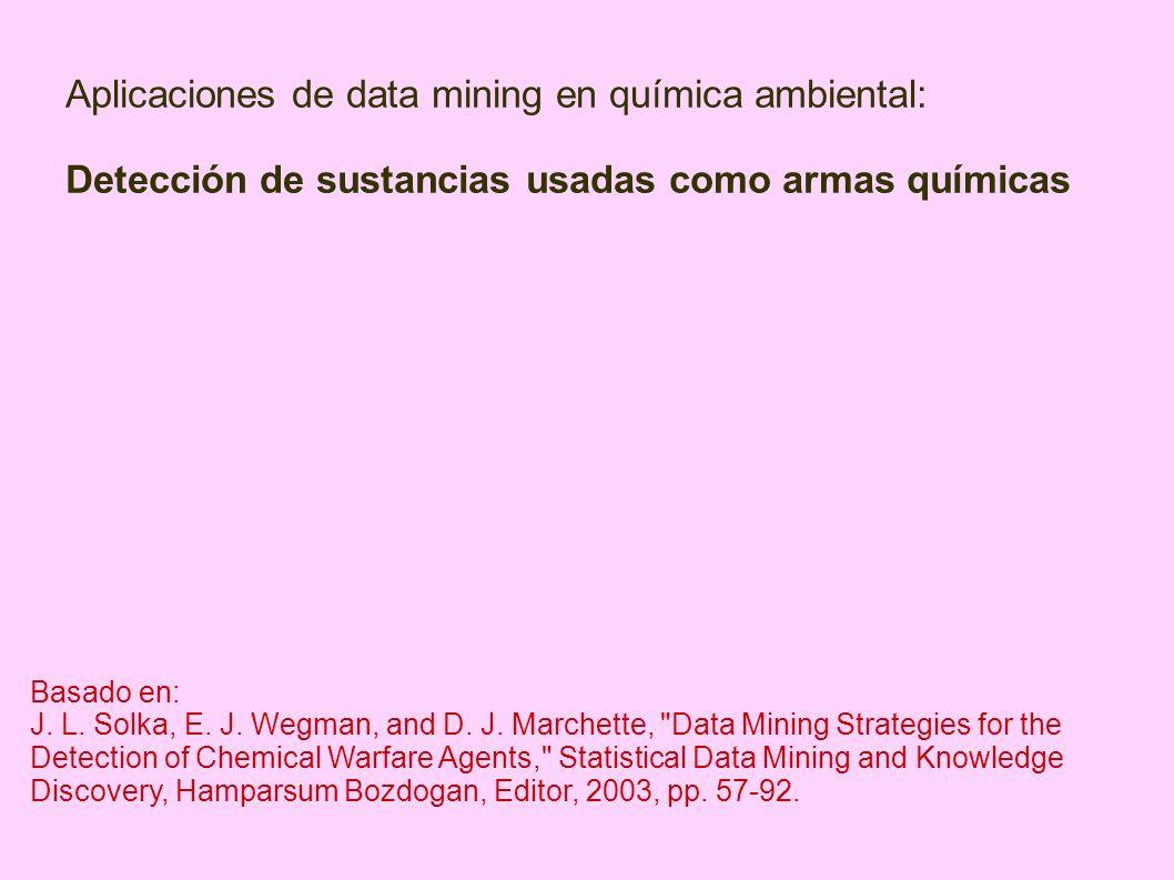 Aplicaciones de data mining en química ambiental: Detección de sustancias usadas como armas químicas Basado en: J. L. Solka, E. J. Wegman, and D. J. M