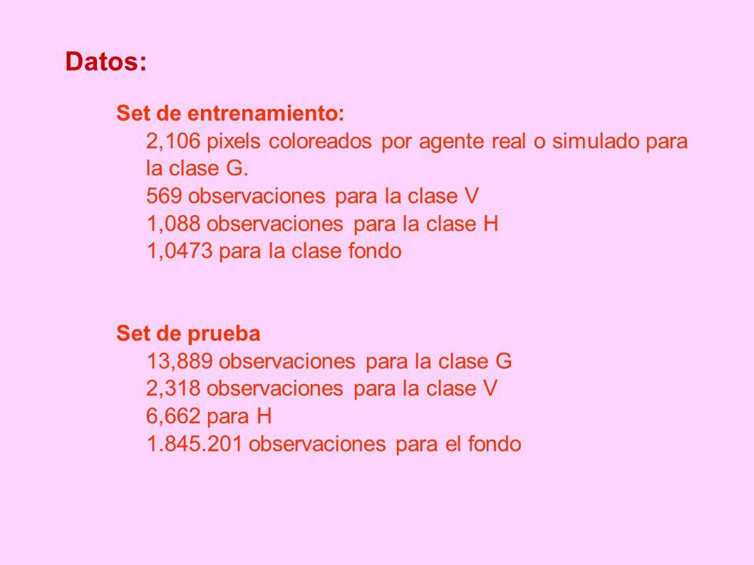 Datos: Set de entrenamiento: 2,106 pixels coloreados por agente real o simulado para la clase G. 569 observaciones para la clase V 1,088 observaciones
