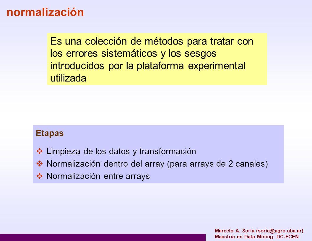 normalización Es una colección de métodos para tratar con los errores sistemáticos y los sesgos introducidos por la plataforma experimental utilizada