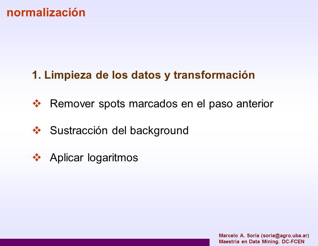 normalización 1. Limpieza de los datos y transformación Remover spots marcados en el paso anterior Sustracción del background Aplicar logaritmos Marce