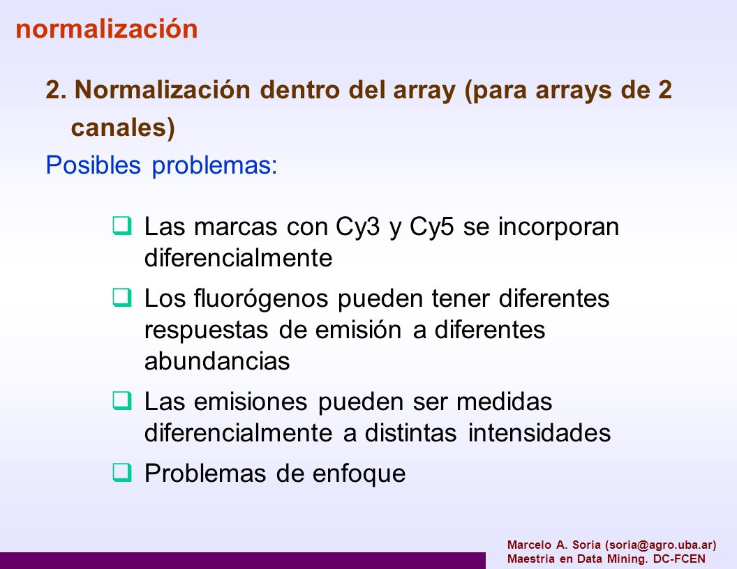 2. Normalización dentro del array (para arrays de 2 canales) Posibles problemas: normalización Las marcas con Cy3 y Cy5 se incorporan diferencialmente
