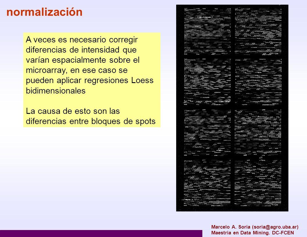normalización A veces es necesario corregir diferencias de intensidad que varían espacialmente sobre el microarray, en ese caso se pueden aplicar regr