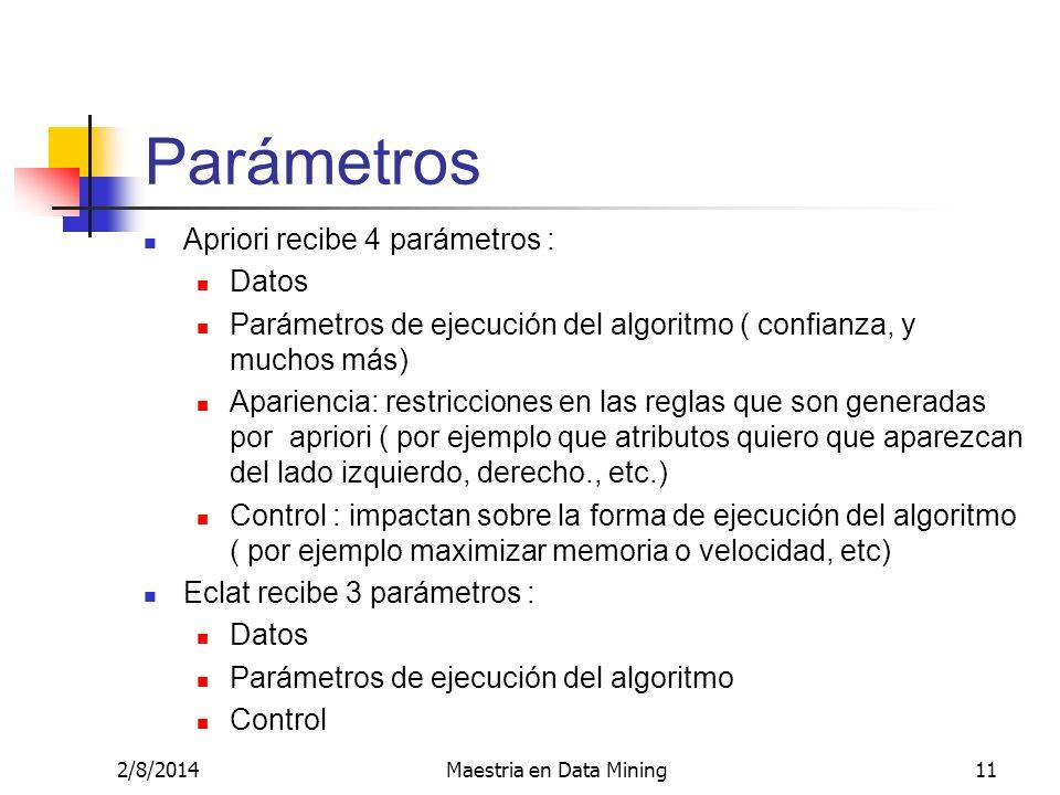 2/8/2014Maestria en Data Mining11 Parámetros Apriori recibe 4 parámetros : Datos Parámetros de ejecución del algoritmo ( confianza, y muchos más) Apar