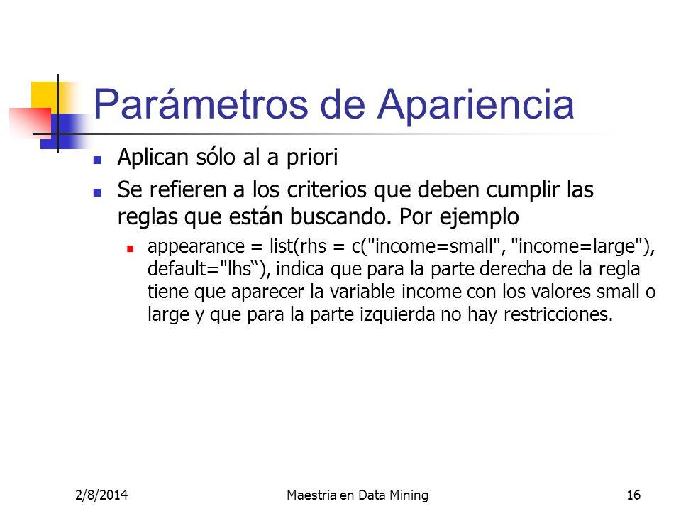 2/8/2014Maestria en Data Mining16 Parámetros de Apariencia Aplican sólo al a priori Se refieren a los criterios que deben cumplir las reglas que están