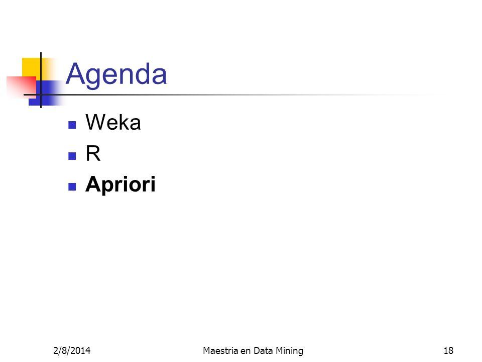 2/8/2014Maestria en Data Mining18 Agenda Weka R Apriori