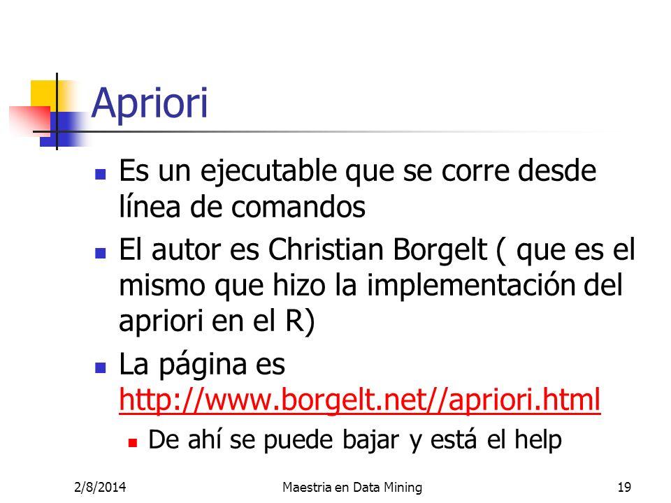 Es un ejecutable que se corre desde línea de comandos El autor es Christian Borgelt ( que es el mismo que hizo la implementación del apriori en el R)