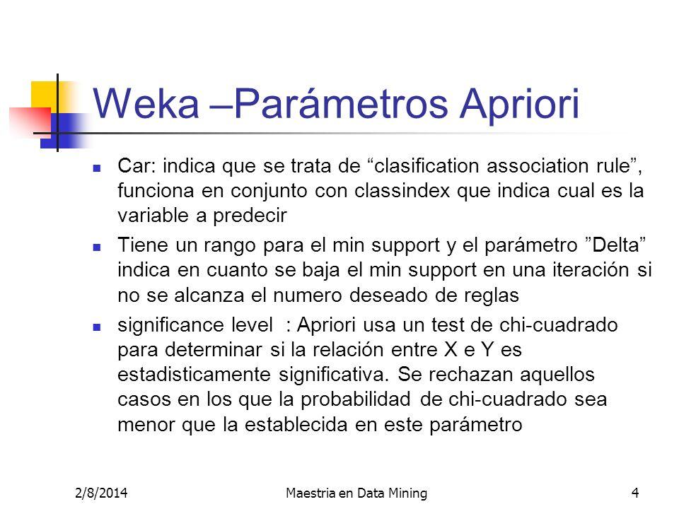 2/8/2014Maestria en Data Mining4 Weka –Parámetros Apriori Car: indica que se trata de clasification association rule, funciona en conjunto con classin