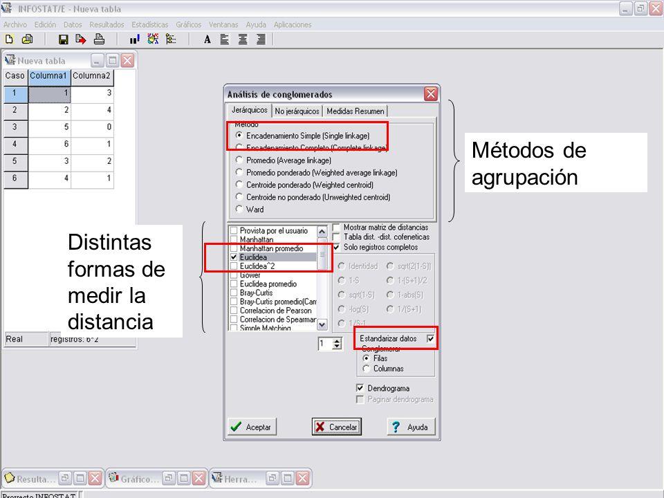 Permite estandarizar los datos, para los casos o las variables, antes de calcular las distancias.