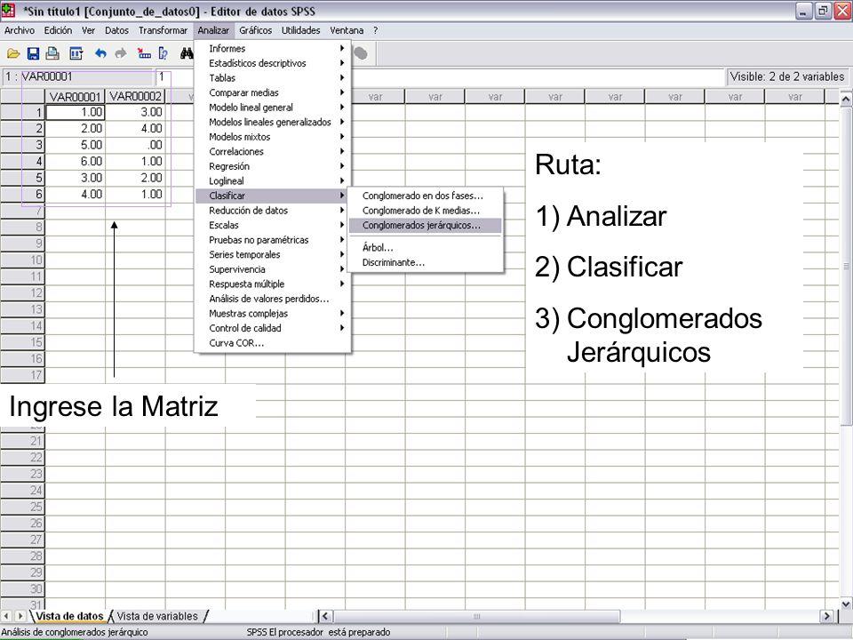 Ingrese la Matriz Ruta: 1)Analizar 2)Clasificar 3)Conglomerados Jerárquicos