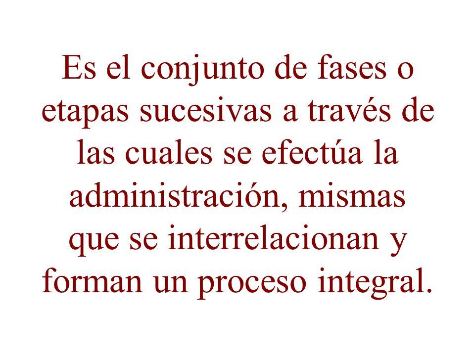 Es el conjunto de fases o etapas sucesivas a través de las cuales se efectúa la administración, mismas que se interrelacionan y forman un proceso inte