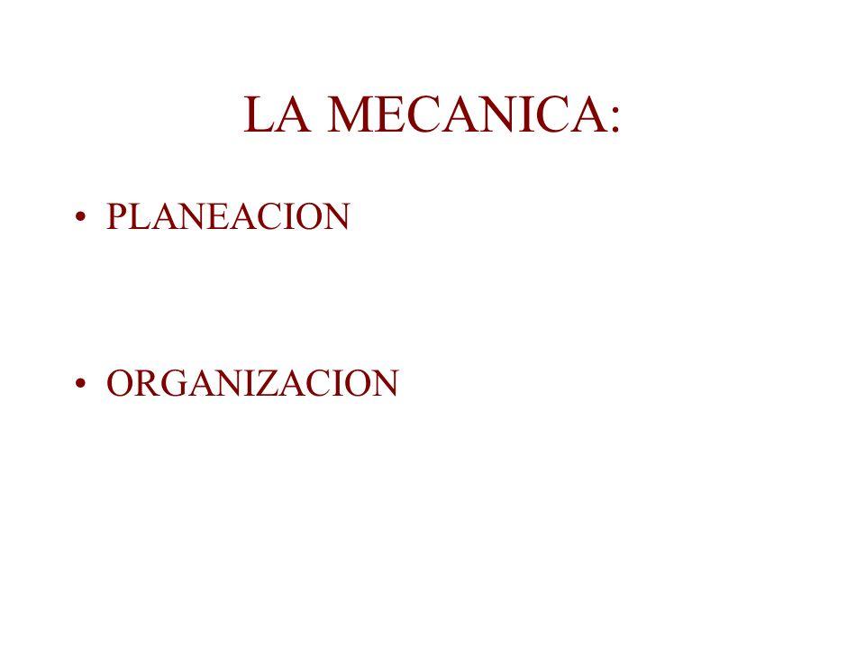 LA MECANICA: PLANEACION ORGANIZACION