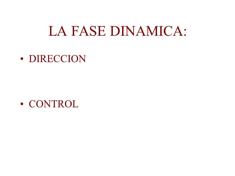 LA FASE DINAMICA: DIRECCION CONTROL