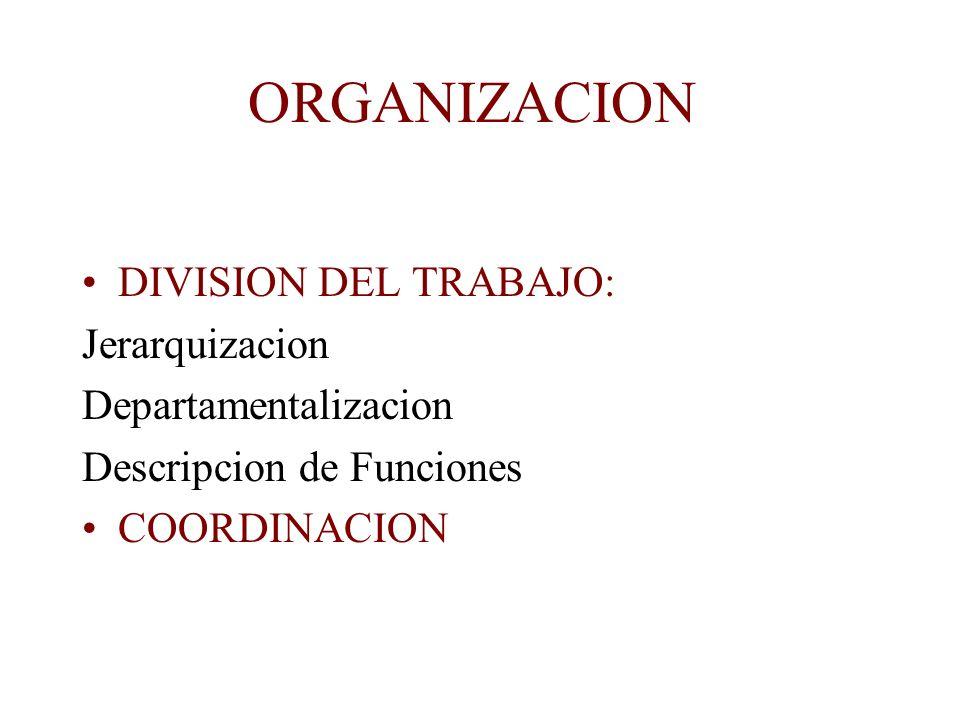 ORGANIZACION DIVISION DEL TRABAJO: Jerarquizacion Departamentalizacion Descripcion de Funciones COORDINACION