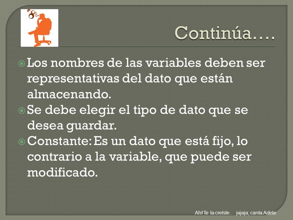 Los nombres de las variables deben ser representativas del dato que están almacenando.