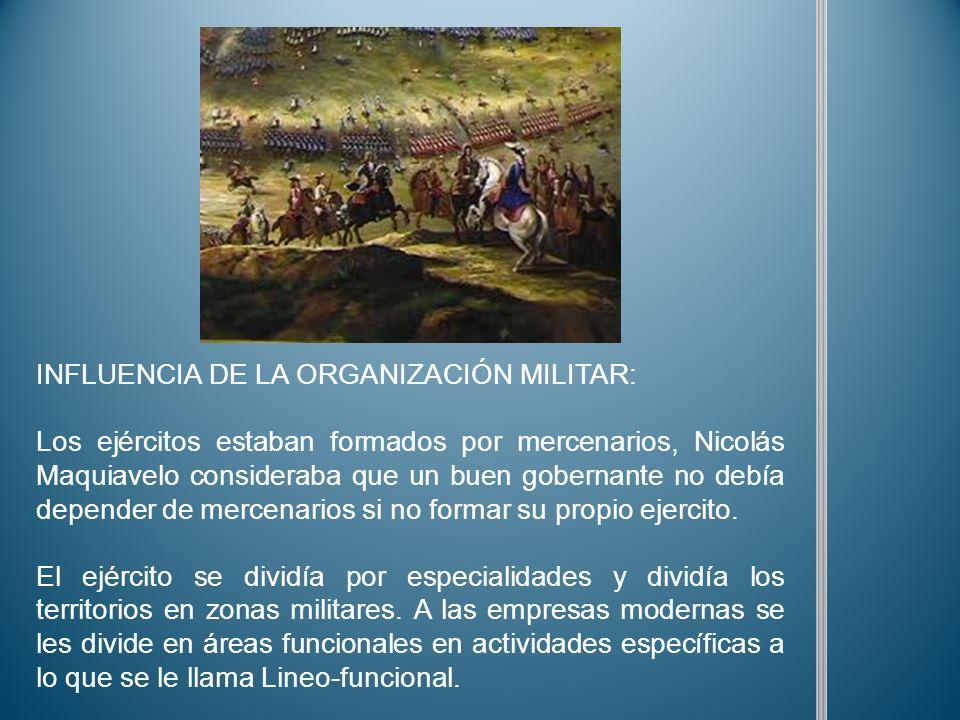 INFLUENCIA DE LA ORGANIZACIÓN MILITAR: Los ejércitos estaban formados por mercenarios, Nicolás Maquiavelo consideraba que un buen gobernante no debía