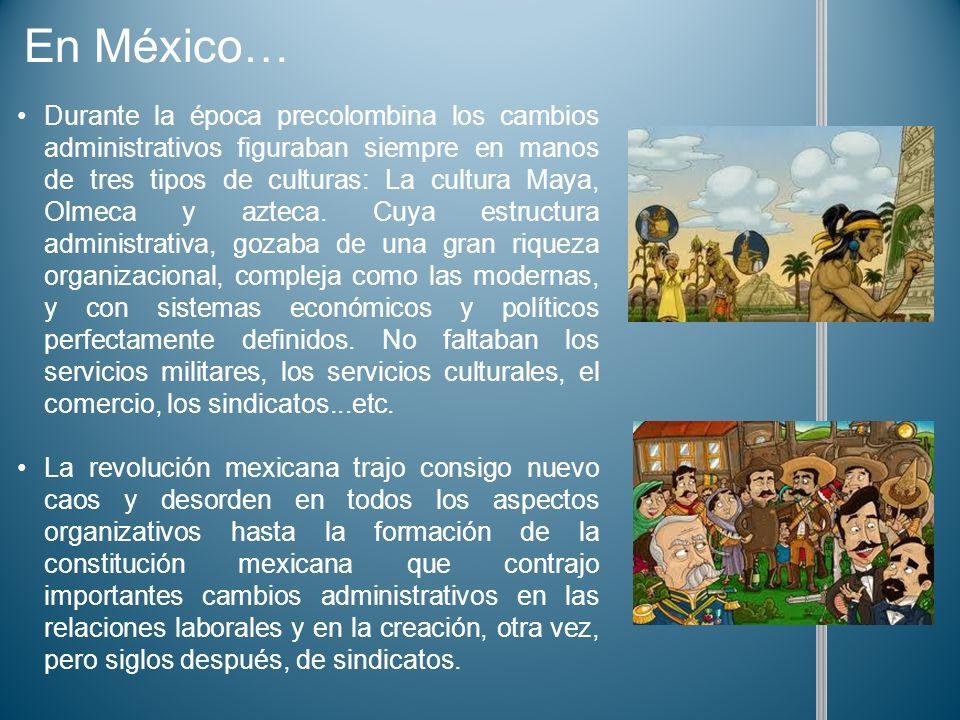 Durante la época precolombina los cambios administrativos figuraban siempre en manos de tres tipos de culturas: La cultura Maya, Olmeca y azteca. Cuya