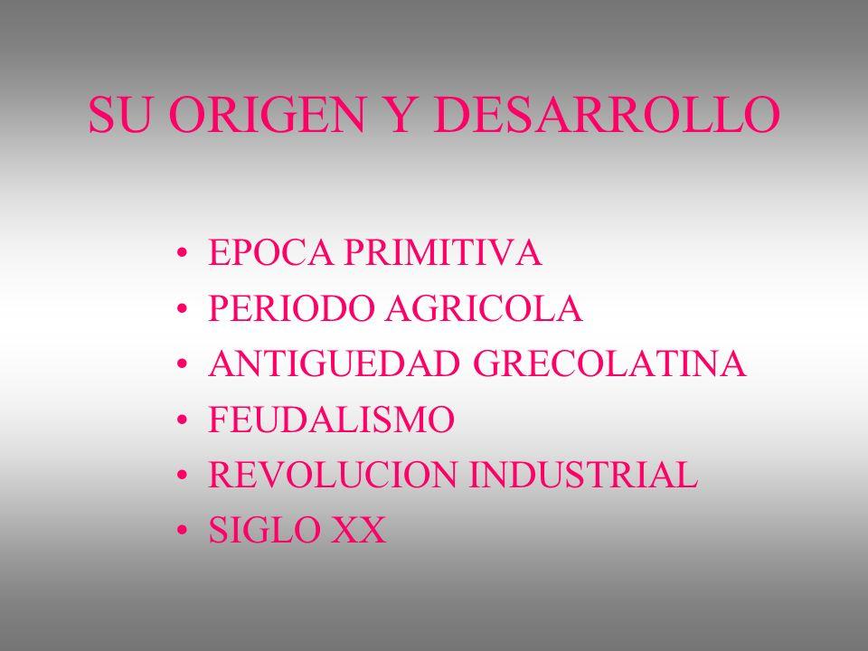 SU ORIGEN Y DESARROLLO EPOCA PRIMITIVA PERIODO AGRICOLA ANTIGUEDAD GRECOLATINA FEUDALISMO REVOLUCION INDUSTRIAL SIGLO XX