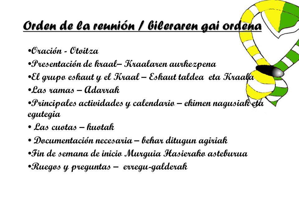 Orden de la reunión / bileraren gai ordena Oración - Otoitza Presentación de kraal– Kraalaren aurkezpena El grupo eskaut y el Kraal – Eskaut taldea et
