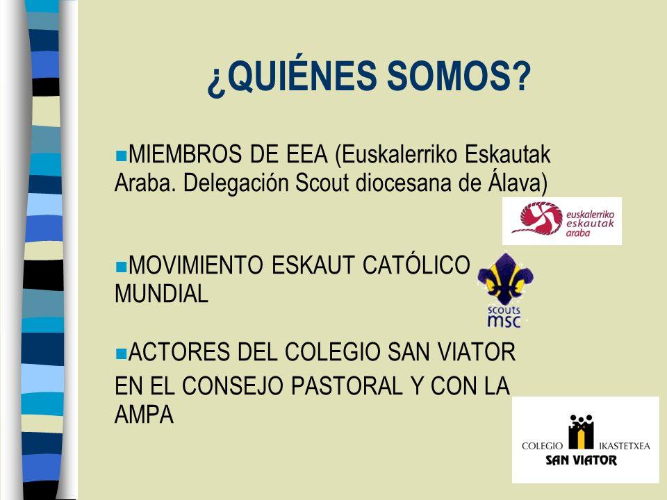 ¿QUIÉNES SOMOS? n MIEMBROS DE EEA (Euskalerriko Eskautak Araba. Delegación Scout diocesana de Álava) n MOVIMIENTO ESKAUT CATÓLICO MUNDIAL n ACTORES DE