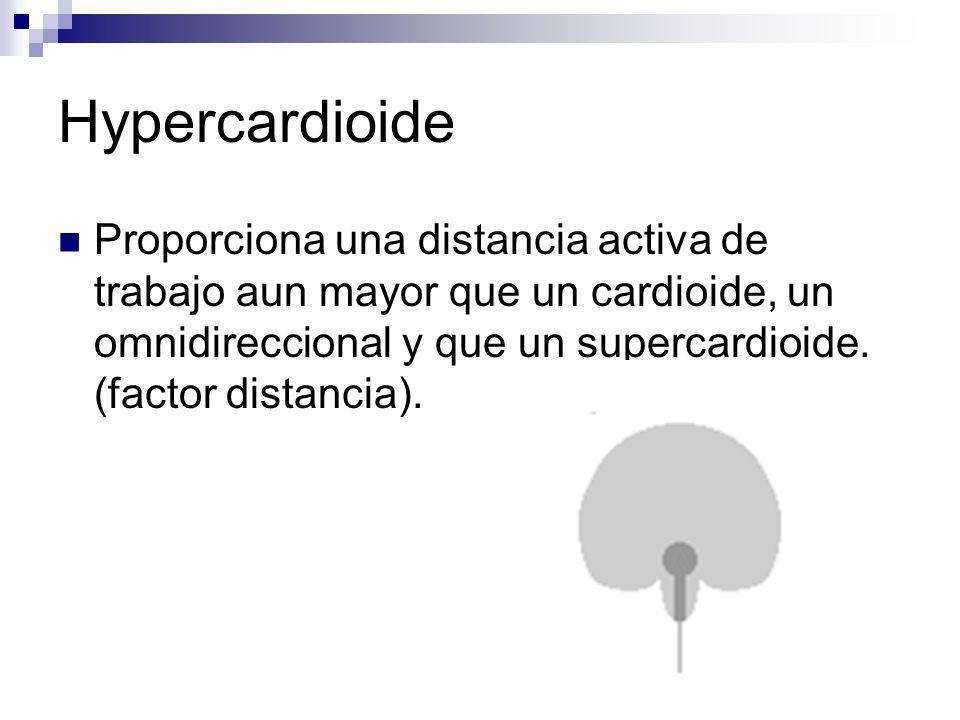 Hypercardioide Proporciona una distancia activa de trabajo aun mayor que un cardioide, un omnidireccional y que un supercardioide. (factor distancia).