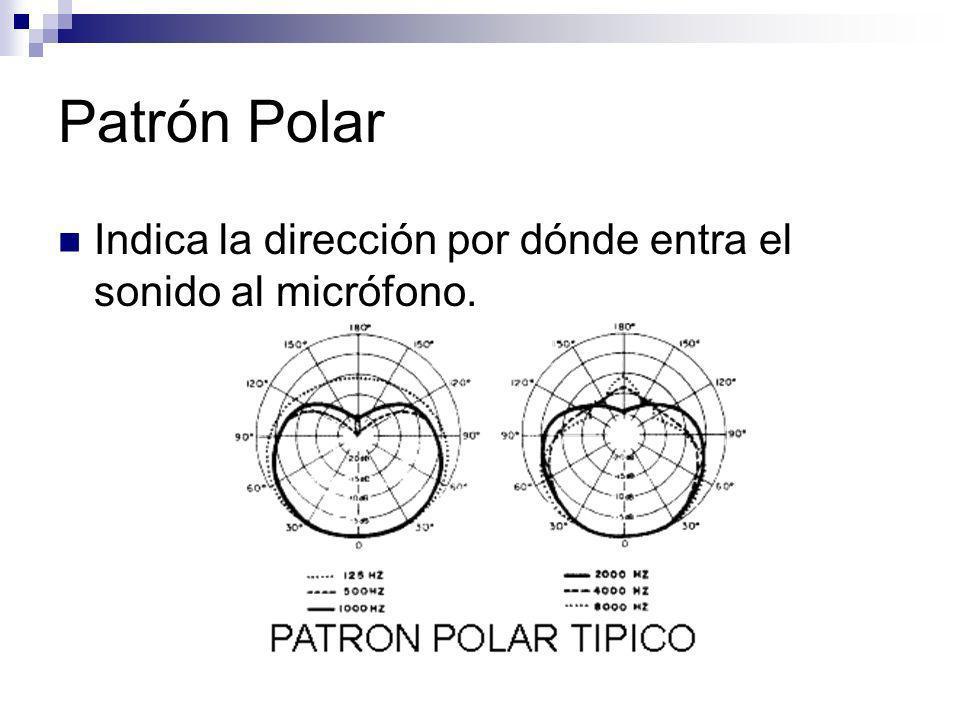 Patrón Polar ( Patrón Direccional ) El micrófono se identifica por sus propiedades direccionales, es decir, por su facilidad de captar el sonido según la dirección en que provenga.