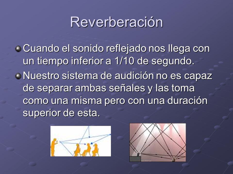 Reverberación Cuando el sonido reflejado nos llega con un tiempo inferior a 1/10 de segundo. Nuestro sistema de audición no es capaz de separar ambas
