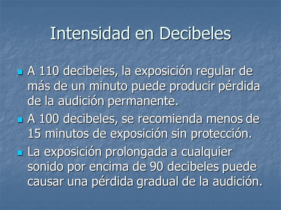 Intensidad en Decibeles A 110 decibeles, la exposición regular de más de un minuto puede producir pérdida de la audición permanente. A 100 decibeles,