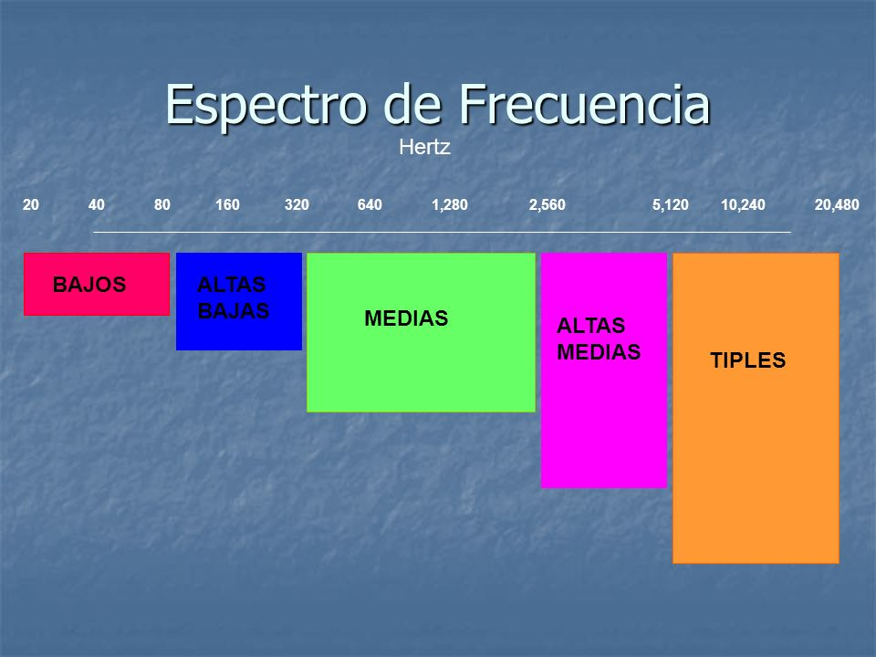 20 40 80 160 320 640 1,280 2,560 5,120 10,240 20,480 Hertz BAJOSALTAS BAJAS MEDIAS ALTAS MEDIAS TIPLES