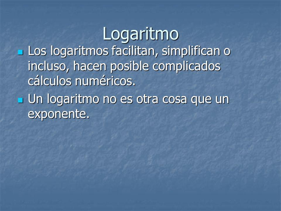 Logaritmo Los logaritmos facilitan, simplifican o incluso, hacen posible complicados cálculos numéricos. Un logaritmo no es otra cosa que un exponente