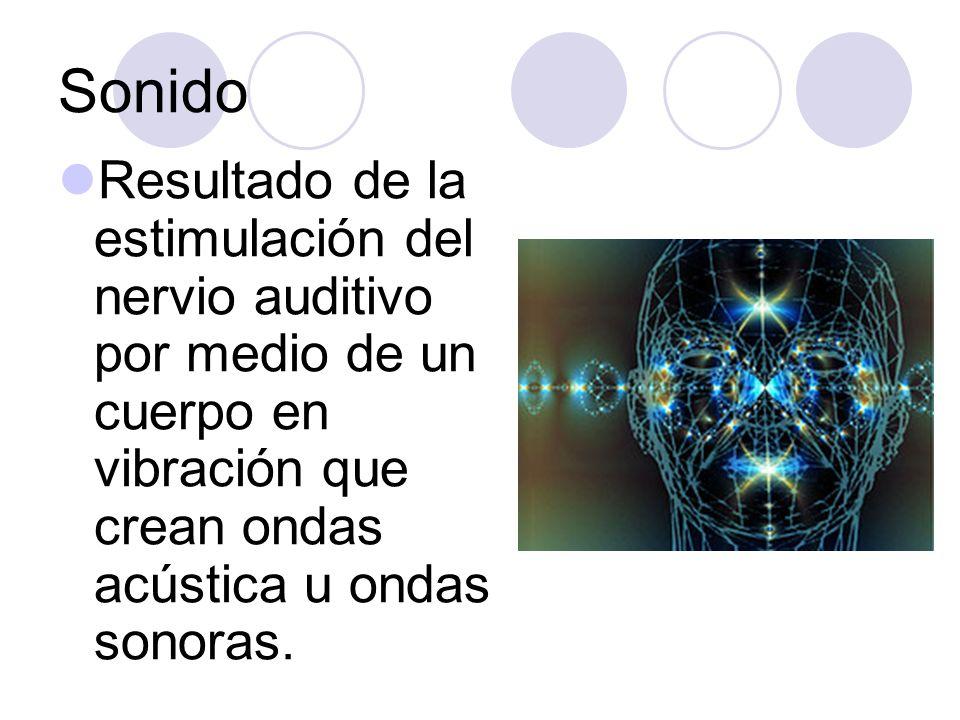 Sonido Resultado de la estimulación del nervio auditivo por medio de un cuerpo en vibración que crean ondas acústica u ondas sonoras.