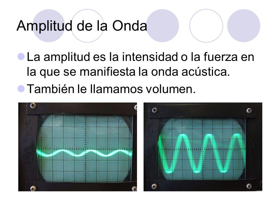 Amplitud de la Onda La amplitud es la intensidad o la fuerza en la que se manifiesta la onda acústica. También le llamamos volumen.