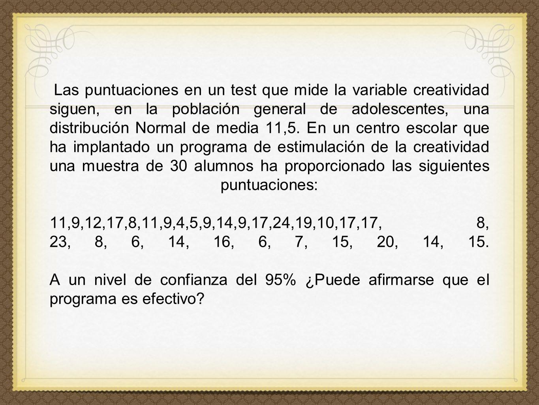 Las puntuaciones en un test que mide la variable creatividad siguen, en la población general de adolescentes, una distribución Normal de media 11,5.