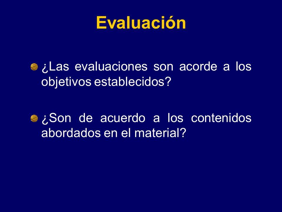 Evaluación ¿Las evaluaciones son acorde a los objetivos establecidos? ¿Son de acuerdo a los contenidos abordados en el material?