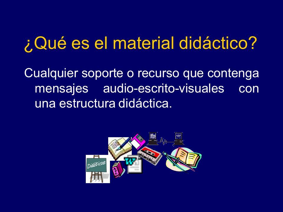 ¿Qué es el material didáctico? Cualquier soporte o recurso que contenga mensajes audio-escrito-visuales con una estructura didáctica.