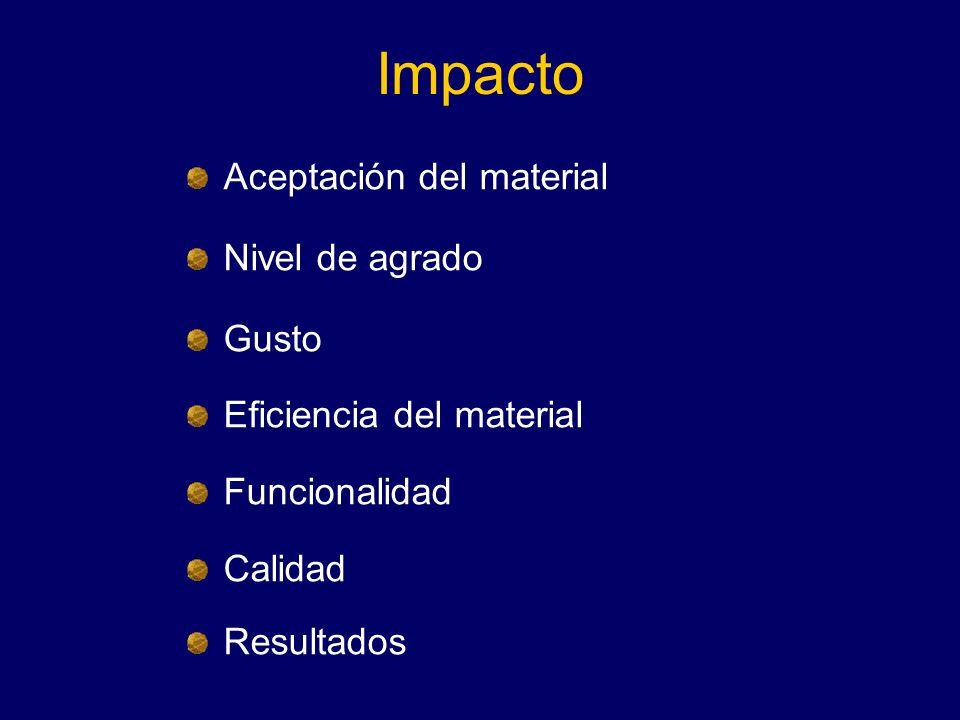 Impacto Aceptación del material Nivel de agrado Gusto Eficiencia del material Funcionalidad Calidad Resultados