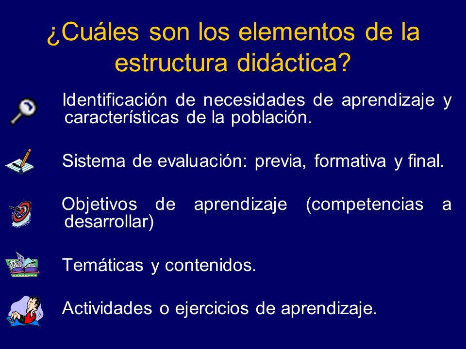 ¿Cuáles son los elementos de la estructura didáctica? Identificación de necesidades de aprendizaje y características de la población. Sistema de evalu