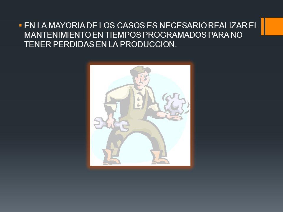 EN LA MAYORIA DE LOS CASOS ES NECESARIO REALIZAR EL MANTENIMIENTO EN TIEMPOS PROGRAMADOS PARA NO TENER PERDIDAS EN LA PRODUCCION.