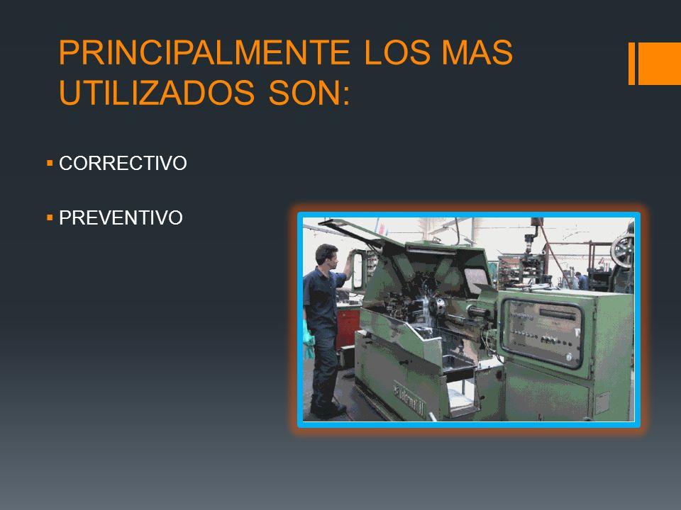 PRINCIPALMENTE LOS MAS UTILIZADOS SON: CORRECTIVO PREVENTIVO