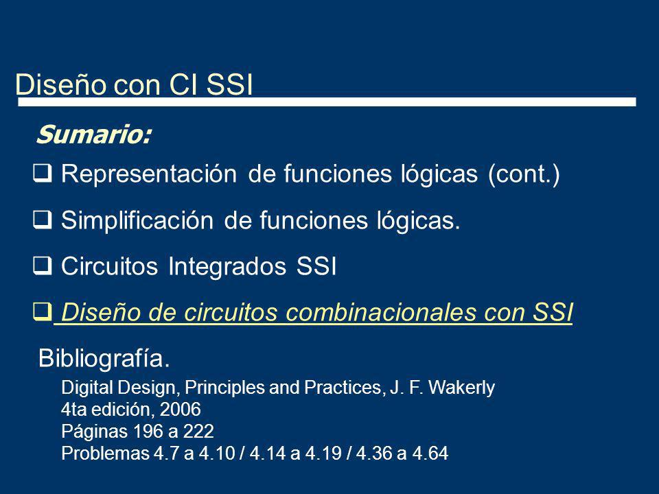 Diseño con CI SSI Sumario: Representación de funciones lógicas (cont.) Simplificación de funciones lógicas. Circuitos Integrados SSI Diseño de circuit