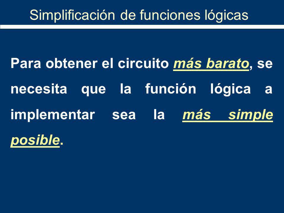 Simplificación de funciones lógicas Para obtener el circuito más barato, se necesita que la función lógica a implementar sea la más simple posible.