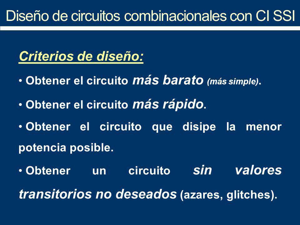 Diseño de circuitos combinacionales con CI SSI Criterios de diseño: Obtener el circuito más barato (más simple). Obtener el circuito más rápido. Obten